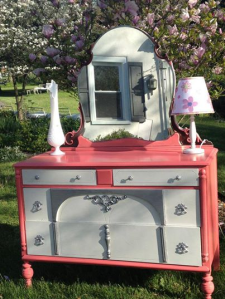 PINK FANCY ANTIQUE DRESSER