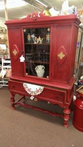 EMPIRE RED DISTRESSED MID-CENTURY CHINA CABINET